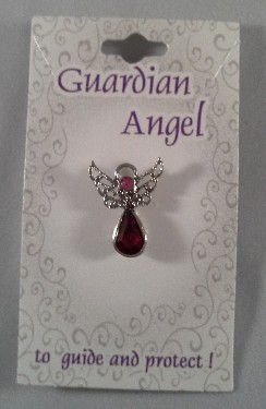 Guardian Angel Crystal Pin: Dark Pink
